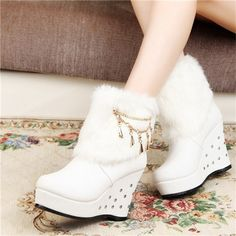 Wedges Boots Fashion Round Toe Black White Ankle Boots With Chain Rivets +Fur Women Boots Warm Scarpe Slip On Rubber Wedges Boot