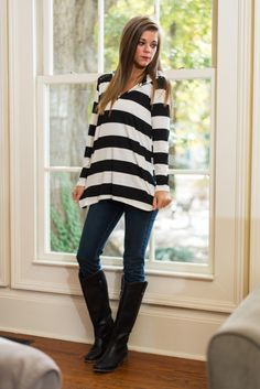 """We are loving the chunky stripes of this trendy hoodie! The material has plenty of give for a super comfy wear and we can't get enough of that easy fit!   Bra-friendly! Material has generous amount of stretch. Hood.  Miranda is wearing the small.    Length from shoulder to hem: S- 29""""; M- 30""""; L- 31""""."""