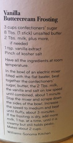 Basic recipe for icing on cake