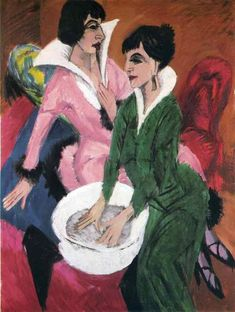 Two Women with Sink, Ernst Ludwig Kirchner