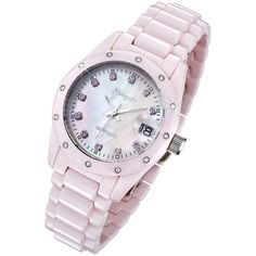 Rougois Women's Pink Ceramic Watch with Genuine Diamonds, Pink Sapphires, and Mother of Pearl Dial, (no)