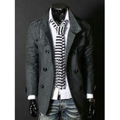 Fashion Stand Collar Double Breasted Long Sleeves Woolen Windbreaker For Men: Ships within business days. - L / GRAY Rugged Style, Style Brut, Men's Style, Male Style, Style Men, Fashion Night, Fall Fashion, Fashion Vest, Fashion Trends