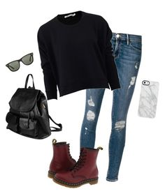 """Hey, Loves!"" by hanakdudley ❤ liked on Polyvore featuring Frame Denim, T By Alexander Wang, Dr. Martens, PARENTESI, Uncommon and Ray-Ban"