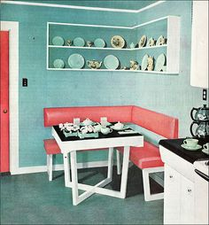 So cute! --- 1949 Dining Corner - This mid century modern corner nook was shown in Ladies Home Journal. It was the kitchen of Edna St. Vincent Millay, the poet. The dishes are Lu Ray by Taylor, Smith, & Taylor.