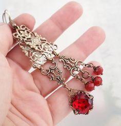 Mismatched earrings, asymmetrical earrings, Baroque earrings, brass filigree chandelier earrings, Art Deco drop earrings, red earrings