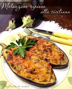 This dish look so delicious.(well, I do love aubergine and I can have it everyday without bored). Vegetable Dishes, Vegetable Recipes, Vegetarian Recipes, Cooking Recipes, Healthy Recipes, Good Food, Yummy Food, Sicilian Recipes, Sicilian Food