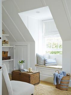 Attic Before And After Country Living attic window seat. Attic Bedrooms, Bedroom Windows, Dormer Bedroom, Cottage Windows, Master Bedroom, Master Suite, Cosy Bedroom, Girls Bedroom, Attic Renovation