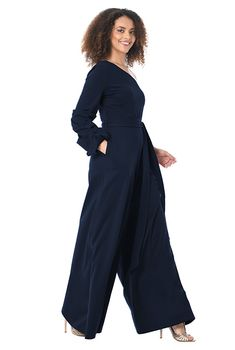 f51f67b1e2a I this One-shoulder pleat sleeve cotton knit jumpsuit from eShakti
