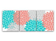 Home Decor Wall Art, Coral and Teal Flower Burst Art, Bathroom Wall Decor, Coral Bedroom Decor, Nursery Wall Art - by WallArtBoutique on Etsy