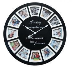 Large Round Wall Clock with Photo Frames Wall Clock Photo Frame, Diy Clock, Home Art, Clocks, Frames, Watches, Frame, Clock