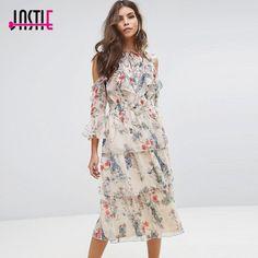 Jastie Floral Printed Women Dress Boho Chic Frill Off The Shoulder Chiffon Dress 2018 Spring Summer Dresses Beach Women Vestidos Chiffon Ruffle, Chiffon Dress, Sequin Party Dress, Frill Dress, Boho Dress, Fashion Outfits, Summer Dresses, Clothes, Boho Chic