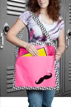 Duck Tape mustache bag http://www.duckbrand.com/products/duck-tape/prints/standard-rolls/mustache-188-in-x-10-yd?utm_campaign=dt-crafts&utm_medium=social&utm_source=pinterest.com&utm_content=duct-tape-crafts-school