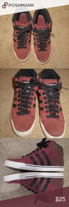 Men's adidas red/black high tops - size 11 Brick red suede and leather adidas with black accents. Size 11. Decent condition, some scuffs. Skateboarding high top. adidas Shoes Sneakers