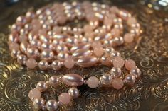 PINK MOONGLOW NECKLACE, Long,Vintage by FrancieLouiseJelly on Etsy