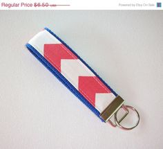 SALE  Key FOB / KeyChain / Wristlet   coral and white by Laa766  preppy / fabric / cute / patterns / key chain / office, nurse, student id, badge / key leash / gifts / key ring