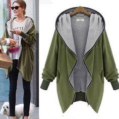 Oversized Women Cotton Baggy Hoodie Jacket Warm Cardigan Coat Zipper Outerwear #Zanzea #Coat