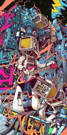 Space hardrock machine by lee juyong, via behance dope art, pop art wallpaper, Behance Illustration, Illustration Art, Psychedelic Art, Graffiti Art, Dope Kunst, Plakat Design, Arte Pop, Cool Wallpaper, Wallpaper Wallpapers