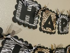 Zebra and Leopard Birthday Banner Animal Print