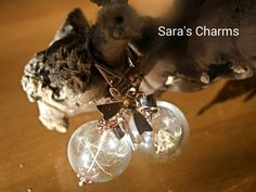 Ohrringe Pusteblume in Glaskugel rosé von Sara´s Charms auf DaWanda.com