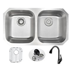 "Moore 32.25"" x 18.5"" Double Bowl Undermount Kitchen Sink with Faucet and Drain Assembly"