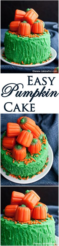 My mom's famous PUMPKIN #CAKE, filled and frosted with buttercream icing and topped off with #pumpkin candies.From cakewhiz.com