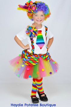 Girls Circus Carnival Clown Tutu Costume..Rainbow .. via Etsy.