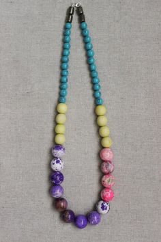 Bright stone necklace/paint splatter/howlite/wood/jawbreaker/candy/ bead necklace