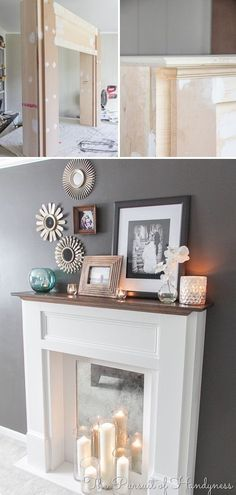 Faux Fireplace Ideas and Projects • Lots of Ideas and Tutorials! Including, from 'pursuit of happiness', this DIY faux fireplace and mantel with great step by step instructions and photos. by regina