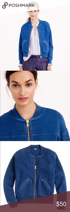 """J. Crew Quilted Indigo Bomber """"To quilt or not to quilt—that was the question, until we saw this dark indigo bomber, and that settled the issue for good. It's made with real indigo.""""                                                                     Real color NOT as bright as in J Crew photos, it's actually much darker and duller- they used a lot of photoshop.  Cotton. Loose fit. Body length approx 22"""" Split kangaroo pocket. J. Crew Jackets & Coats"""