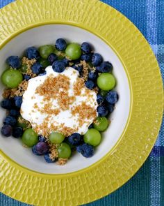 Blueberries and Grapes with Brown Sugar and Sour Cream. A light and refreshing summer dessert which will wow you.