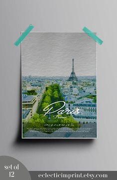 Travel Posters Set of 12 Instant download Digital prints