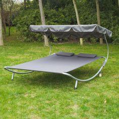 Bain de soleil chaise longue lit fauteuil de jardin hamac oxford et polyester en suspension à 2 places cadre en acier gris neuf 05GY – Aosom.fr - Aosom.fr