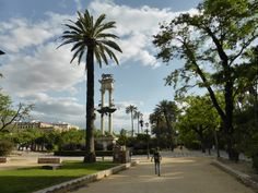If you would like a nice walk and a quiet place to take a break, check out the Christopher Columbus Monument and walk along Paseo de Catalina de Riber. Seville Spain, Christopher Columbus, Cata, Sidewalk, Gardens, Walks, Sevilla Spain, Outdoor Gardens, Garden