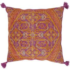 Bright Purple and Inca Gold Zahra Floor Pillow by Surya - Seven Colonial