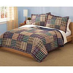 @Overstock - Enjoy the styling of this comfortable quilt set in any bedroom in your home. This set has a colorful plaid design. Included in this set are a quilt and two shams. Use this set to create the perfect setting in master bedrooms and guest rooms.http://www.overstock.com/Bedding-Bath/Bradley-Cotton-3-Piece-Quilt-Set/4133029/product.html?CID=214117 $73.99