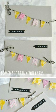 homemade thank you card ideas  great washi tape flag idea!