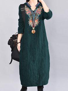 O-NEWE Vintage Women Embroidery Long Sleeve V-Neck Dress