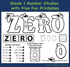 Learning Grade 1 Math skills well with fun free printables.  A zero - twenty number study.