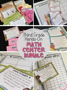 These hands-on third grade math centers are perfect for math workshop! They are easy to prep and the consistent directions help students to be independent and successful. Plus, they are fun! Fourth Grade Math, Second Grade Math, Grade 3, Math Resources, Math Activities, Math Games, Classroom Resources, Classroom Ideas, Math Stations