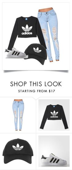 """Casual day"" by juju228 ❤ liked on Polyvore featuring adidas and Topshop"