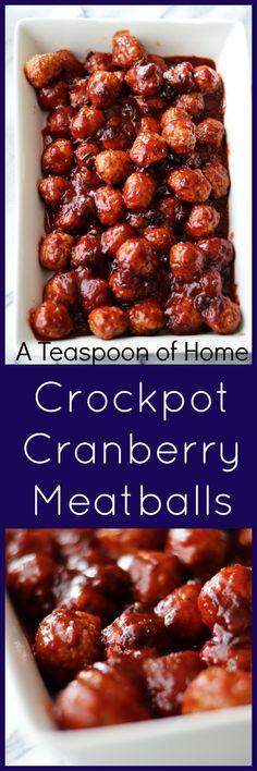Crockpot Cranberry Meatballs by A Teaspoon of Home