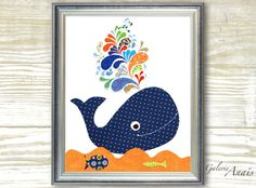 Whale Nursery art prints - baby nursery decor - bathroom wall art nursery - kids art - Whale - navy blue - orange - ocean