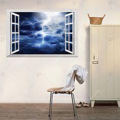 Window Lightning 3D Wall Art Sticker - DEEP BLUE 48.5*72CM