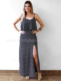 vestido com listras longo alcinha