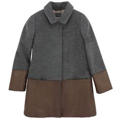 Fendi  Manteau en drap de laine gris souris et simili cuir marron