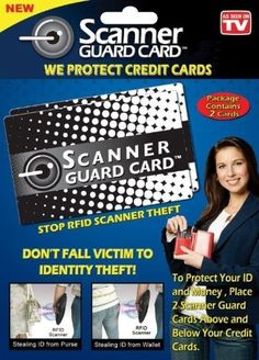 20% cut off Scanner Guard Card - Your Best Protection Against RFID Credit Card Theft - Complete w/ 2 Cards