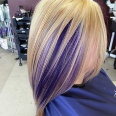 Blonde base, highlights and purple peekaboo... - Yelp