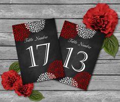 Chalkboard Wedding Table Numbers Template  by SasafrasPrintables