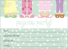 Free Pajama Party Invitation Printable