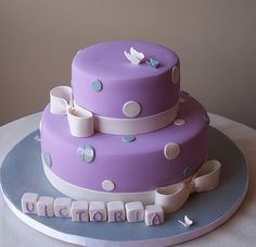 Baptism Cake - butterflies and blocks by cakespace - Beth (Chantilly Cake Designs), via Flickr